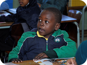 A grade 2 learner at Charles Nduna Primary School, one of the nine schools visited.